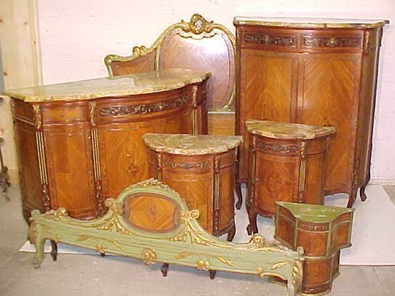 C1900 American French Style Marble Top Bedroom Set Lot 63