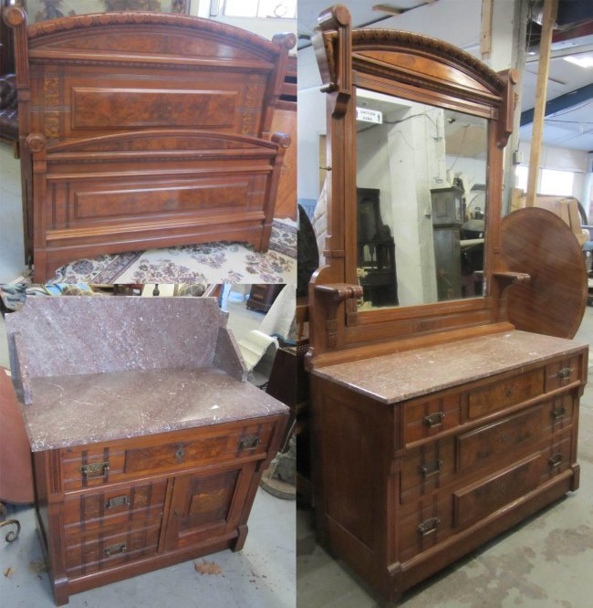 Eastlake 3 Piece Marble Top Bedroom Set Lot 337