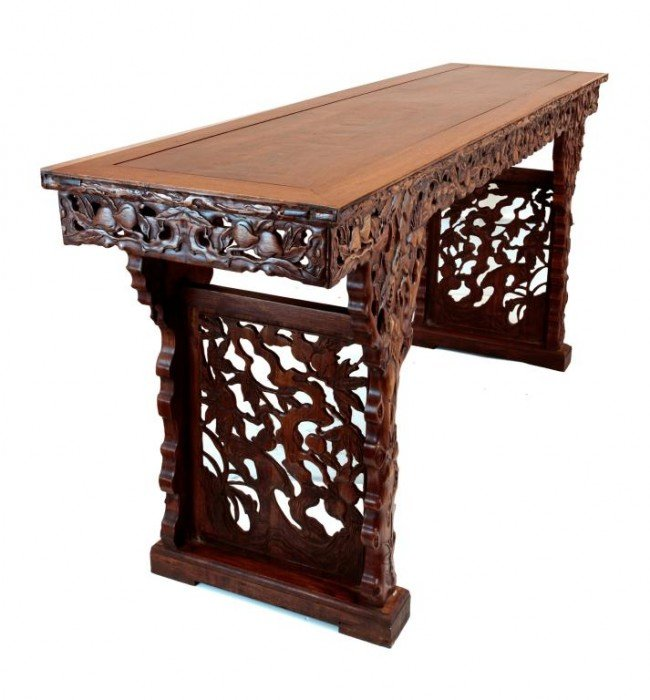 185 chinese carved wood altar table lot 185 for Oriental wood carved furniture