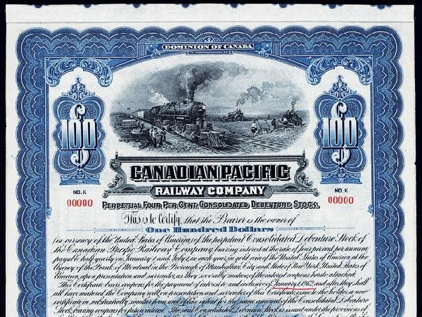 795: Canadian Pacific Railway Co. Stock Certificate. : Lot 795 Pacific Railway Company