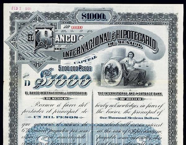 1890 banco internacional e hipotecario de mexico bond for Banco internacional