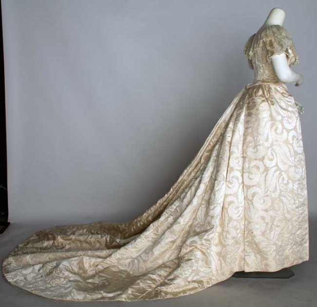 bustle wedding gown 1880s lot 127