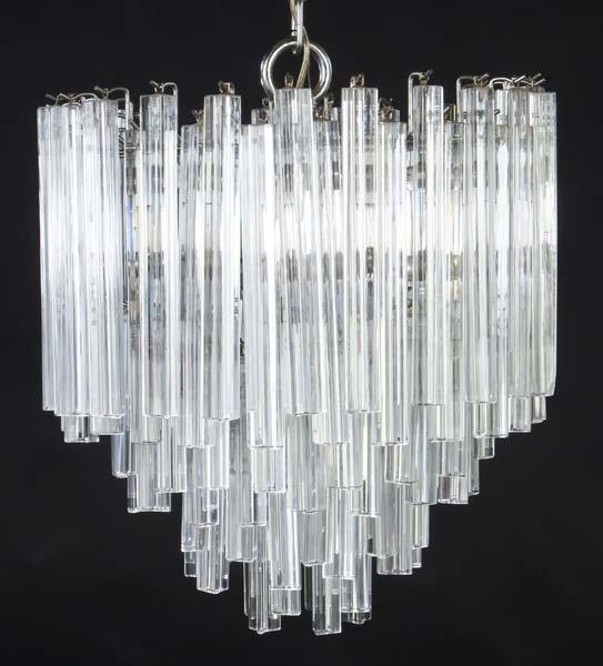 lampadario venini : 764: VENINI Chandelier with crystal drops. 20