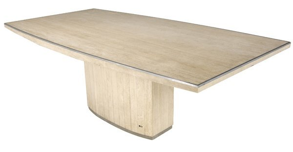 424 willy rizzo travertine dining table with steel tri for Table willy rizzo