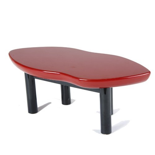 1452 Modern Lip Shaped Coffee Table With Red And Black Lot 1452
