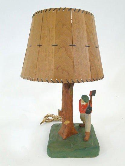 20 folk art wooden hand carved table lamp artist sig lot 20. Black Bedroom Furniture Sets. Home Design Ideas