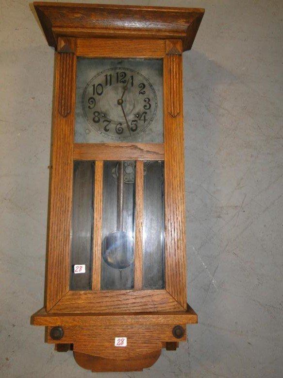 An arts and crafts wall hung regulator clock in mission for Arts and crafts style wall clock
