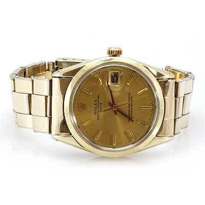 authentic rolex oyster perpetual date gold plated