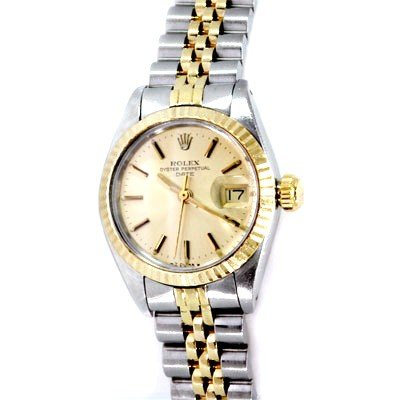 used rolex oyster perpetual date womens 2tone 14k