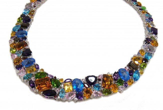 444 85ctw multi color gemstone sterling silver necklace