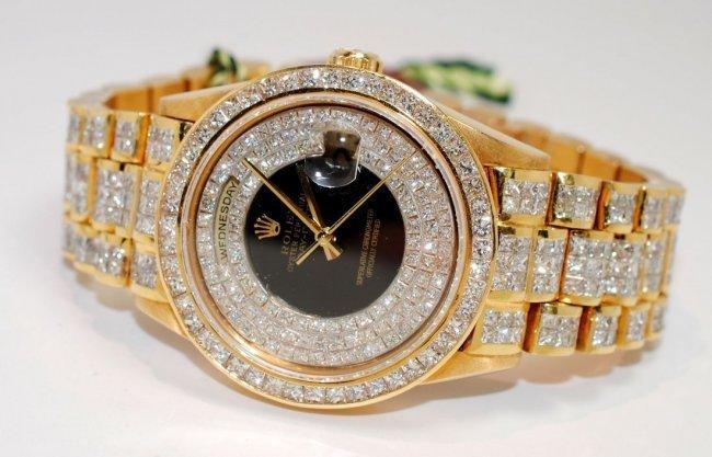 67D: Rolex 18KT Gold 25ct Diamond Super President Wrist