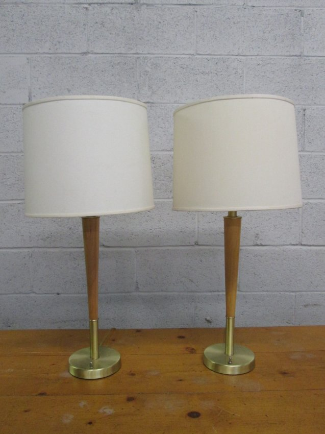 216 pair mid century modern wood brass lamps lot 216