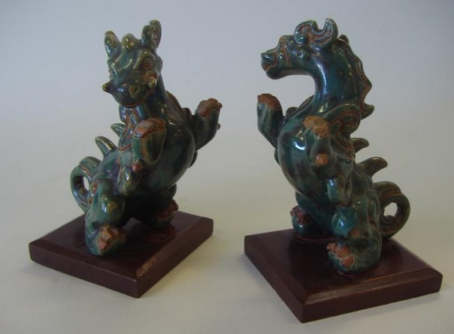 199 chinese green glazed ceramic dragon bookends lot 199 - Dragon bookend ...