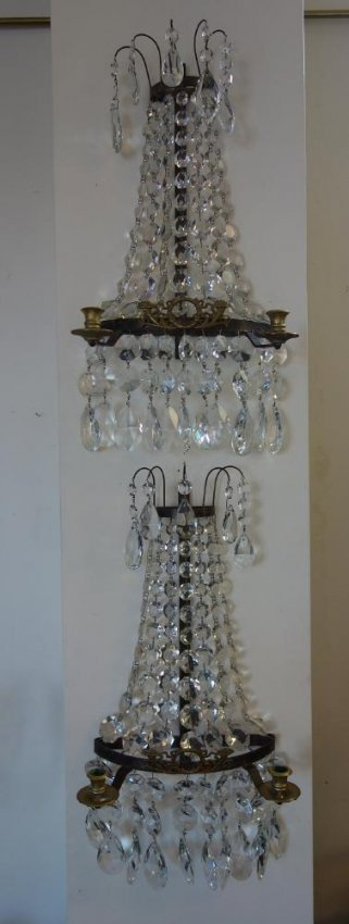Wall Sconces For Candles With Crystals : French Crystal Candelabra Candle Wall Sconces : Lot 45