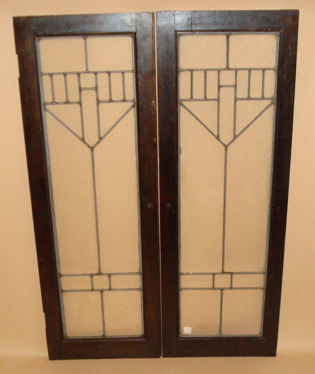 97 Prairie Style Leaded Glass Cabinet Doors Lot 97
