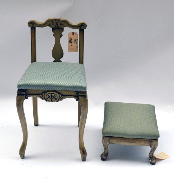 90 Low Back Vanity Chair And Stool Lot 90