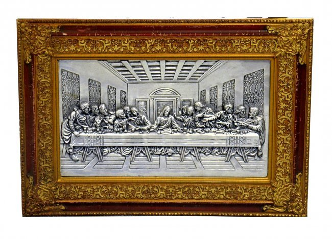 113 Portuguese Pewter Plaque Last Supper Lot 113