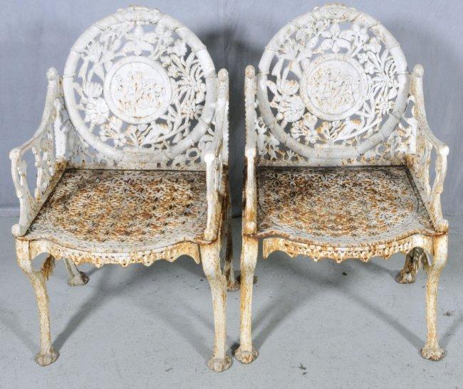 84 pr antique wrought iron arm chairs openwork flora