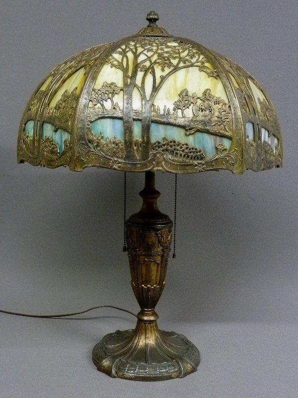 353 Massive 1920 S Scenic Slag Glass Panel Lamp Signed
