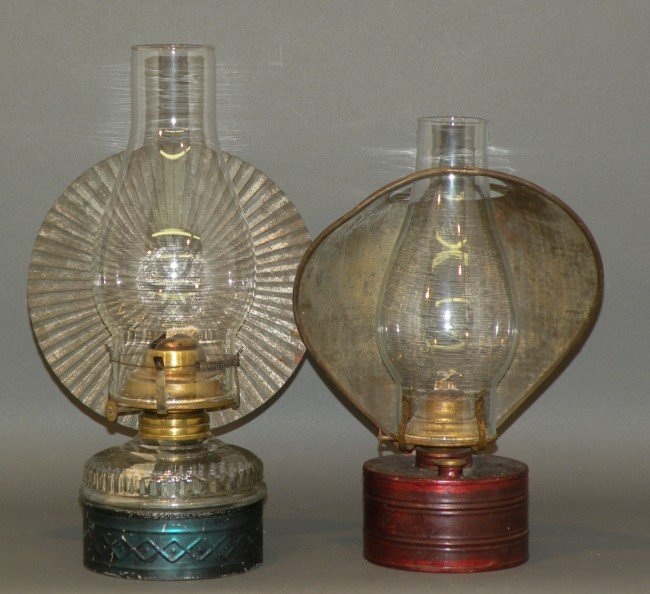 Wall Mounted Kerosene Lanterns : 411: 2 tin wall mounted kerosene lamps : Lot 411