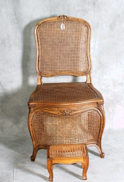 Antique wooden chairs with cane seats - 504 Antique Cane Commode Chair With Footstool Lot 504