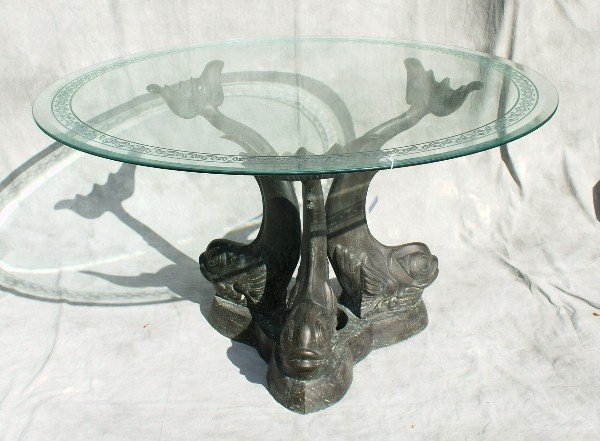 Bronze Figural glass top dining table with dolphin base  : 227236581l from www.liveauctioneers.com size 600 x 441 jpeg 54kB