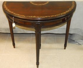 "082028: ANTIQUE MAHOGANY REGENCY FLIP TOP TABLE, H29"" : Lot 82028"