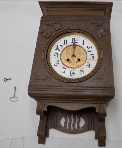 Wall Clock Art Nouveau : Art nouveau wall clock w enamel dial dore bronze lot