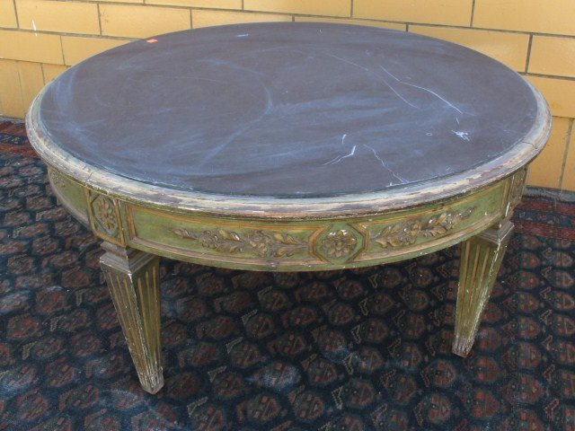 French Provincial Round Coffee Table W Marble Lot 400