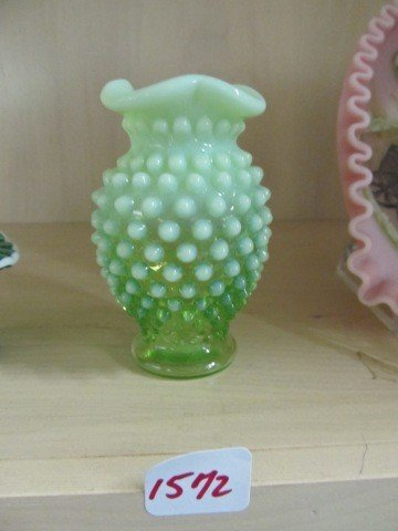 FENTON LARGE GREEN RUFFLED TOP VASE by jeffteres