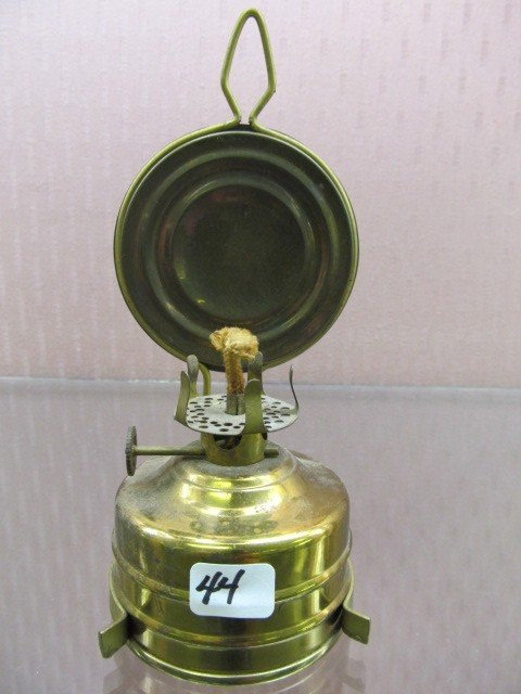 44: German Mini Brass Wall Hanging Oil Lamp with Reflec : Lot 44