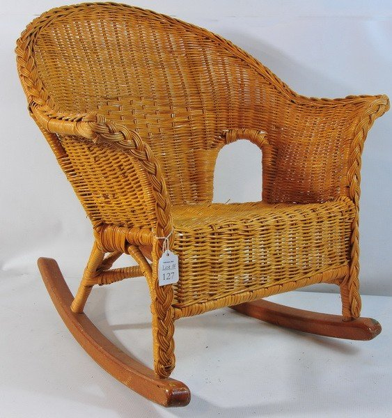 127 Small Child S Wicker Rocking Chair Lot 127