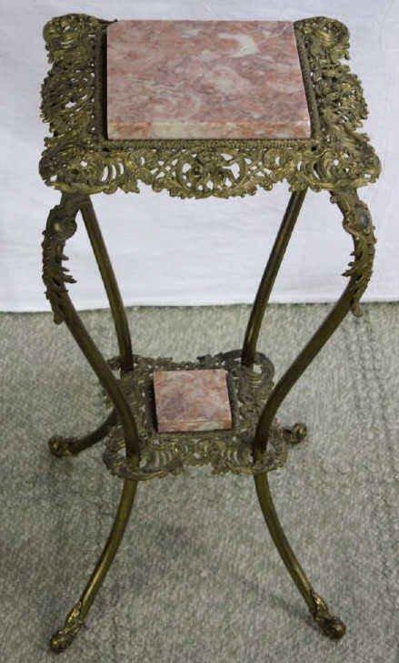 Antique Victorian Gilt Bronze Marble Plant Stand Lot 509