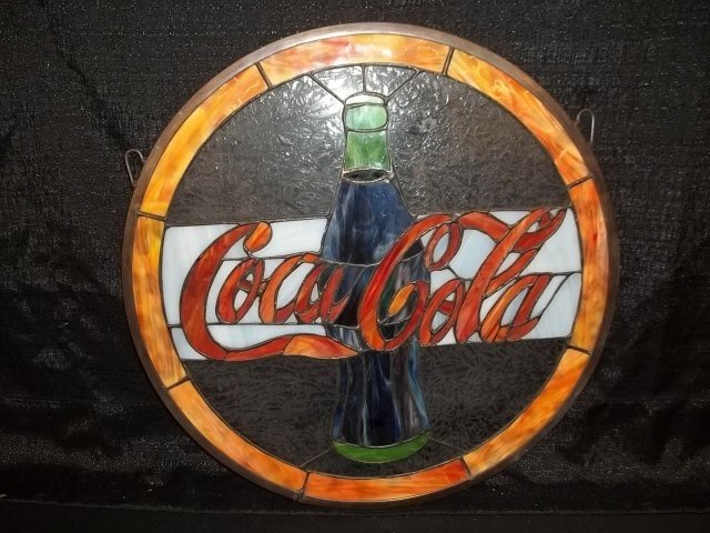 253 Stained Glass Coca Cola Sign Lot 253