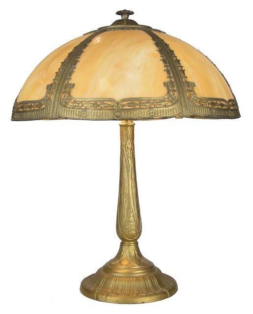 118 ANTIQUE SLAG GLASS LAMP Lot 118