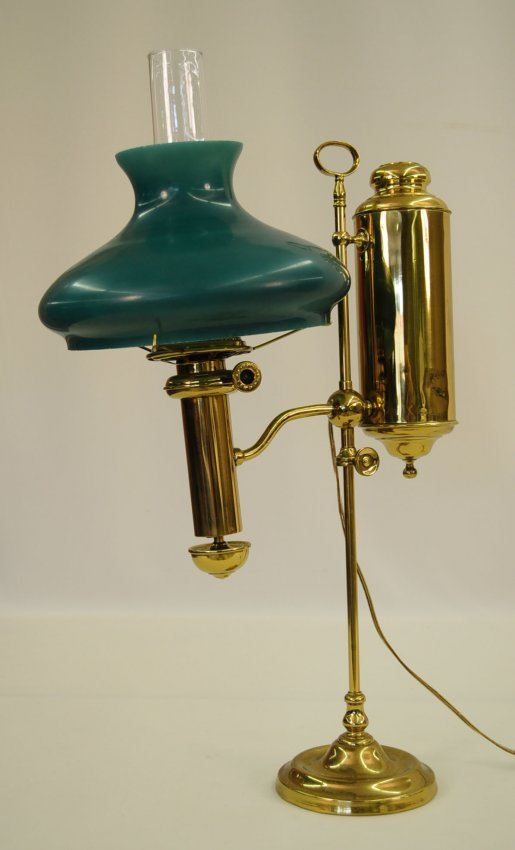 Antique Brass Student Lamp With Green Shade Lot 4