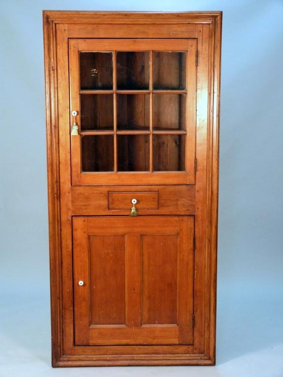 Tall Corner Cabinets Furniture: 390: Antique American Tall Corner Cabinet : Lot 390