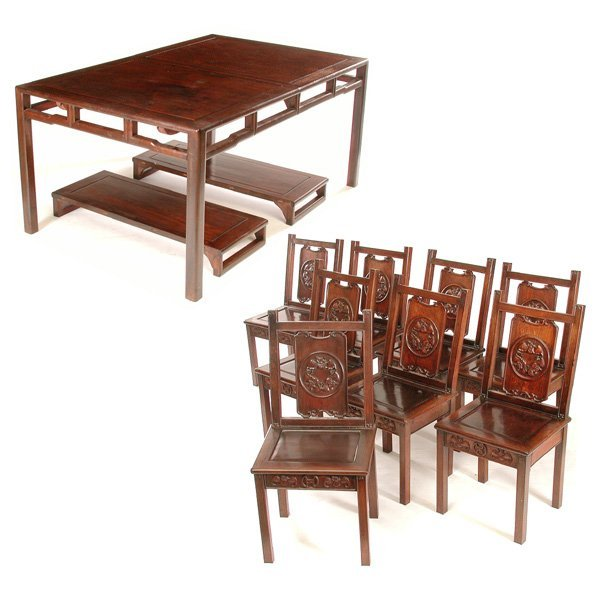 Rosewood Dining Room Set: 371: Chinese Ming Style Rosewood Dining Room Set : Lot 371