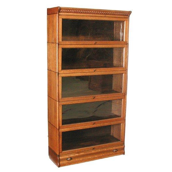 43: 5 Stack Oak Lawyers Bookcase : Lot 43