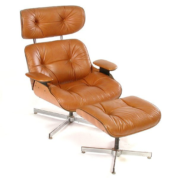 131 eames style lounge chair ottoman by selig lot 131 - Selig eames chair ...