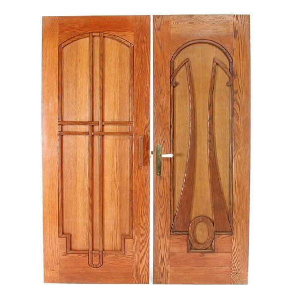 114 two oak arts and crafts style doors lot 114 for Arts and crafts door