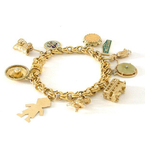 148 14 karat gold charm bracelet lot 148