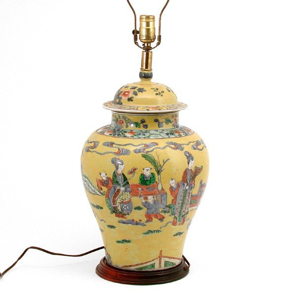 708 Chinese Ginger Jar Table Lamp Lot 708