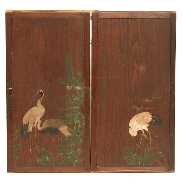 445 Japanese Sliding Cabinet Doors Crane Floral Pai