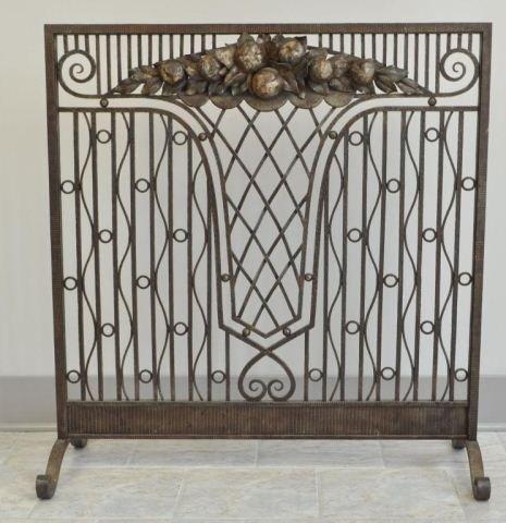 French Art Deco Wrought Iron Fireplace Screen Lot 28