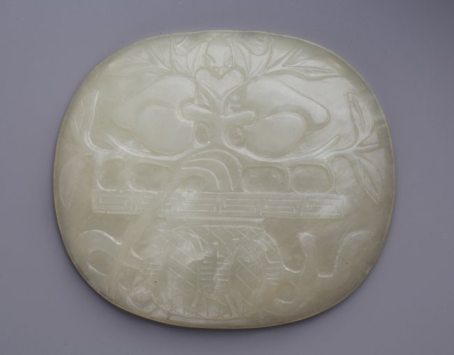 Th c chinese jade plaque carved in relief lot