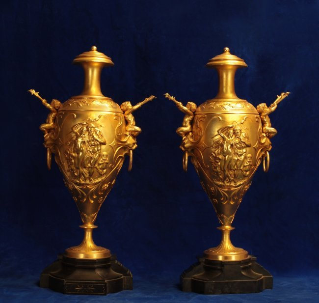 pair of 19th c dore bronze vases on black marble lot 55. Black Bedroom Furniture Sets. Home Design Ideas