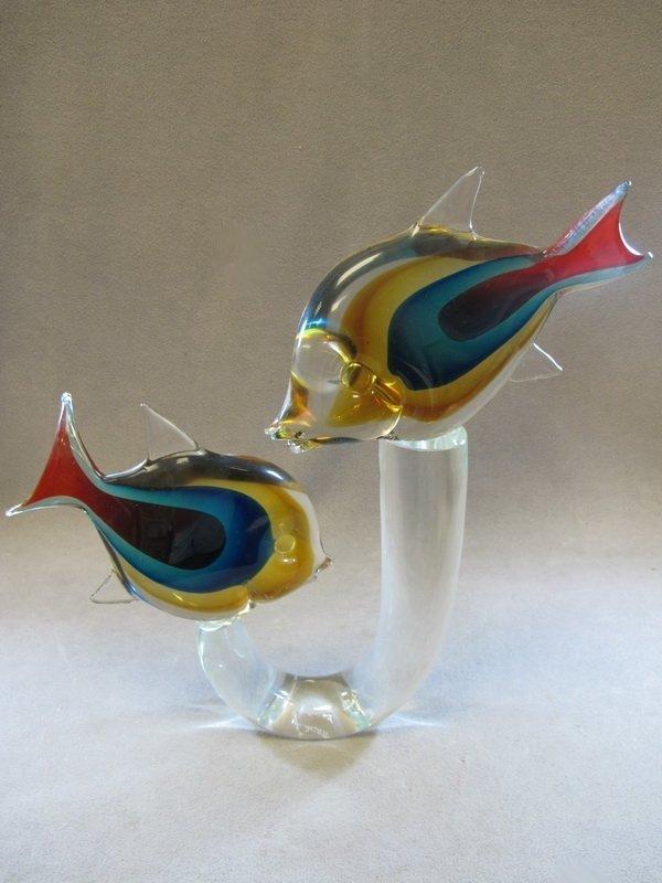 14 italian murano glass fish sculpture lot 14 for Murano glass fish