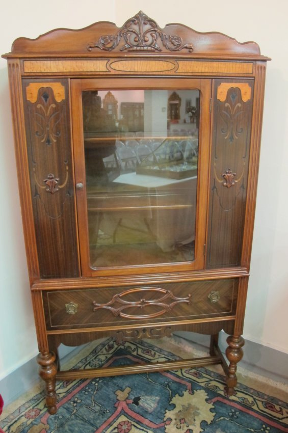 antique walnut jacobean style china cabinet with bird 39 s