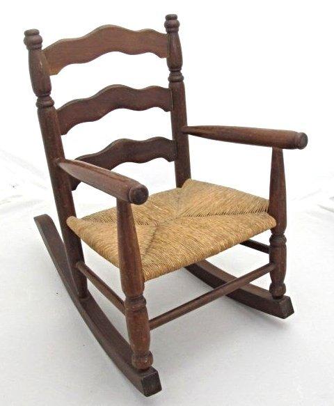 Antique Child S Rush Bottom Slat Back Rocking Chair Lot 306